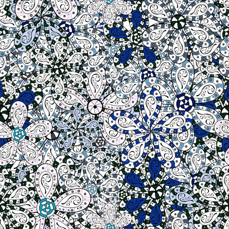 Amazing seamless floral pattern with bright colorful flowers and leaves on a white, blue and black colors. Folk style. The elegant the template for fashion prints. Modern floral background.