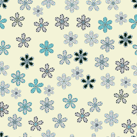 Flowers of the valley on neutral, white and blue colors vector seamless floral pattern. Foto de archivo - 98423776