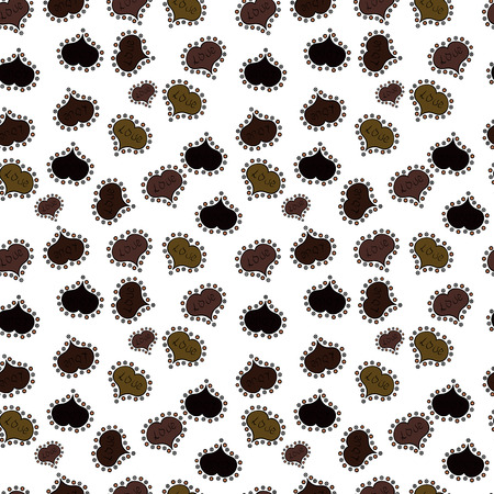 Heart Doodle. Drawing in sketch style on white, brown and black colors. Wrapping paper. Valentine:s day. Vector. Abstract seamless love pattern.