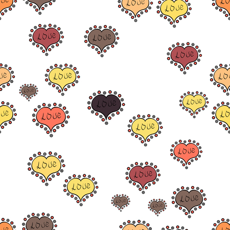 Valentine:s day print, seamless hand craft expressive ink typography pattern. Love. Vector. Poster with different doodle letters. Hipster funky painted style texture on white, black and yellow colors