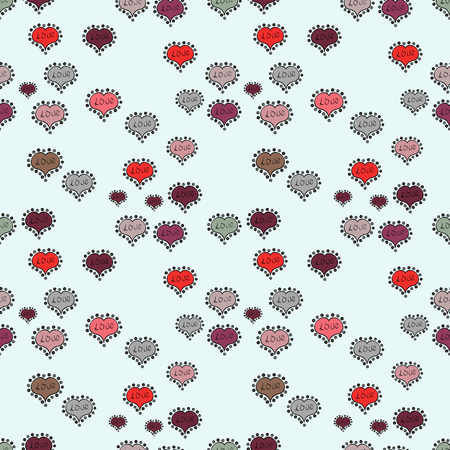 Repeating texture. Seamless hearts pattern. Cute neutral, gray and black colors elements. Valentines Day card seamless background pattern heart. Vector illustration.