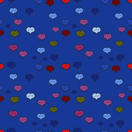Love, wedding, Valentines day design. Seamless vector background with blue, black and purple hearts.