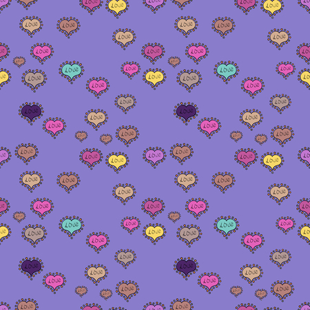 Watercolor hearts seamless background vector illustration. Violet, black and pink watercolor heart pattern. Colorful watercolor romantic texture. Ilustrace