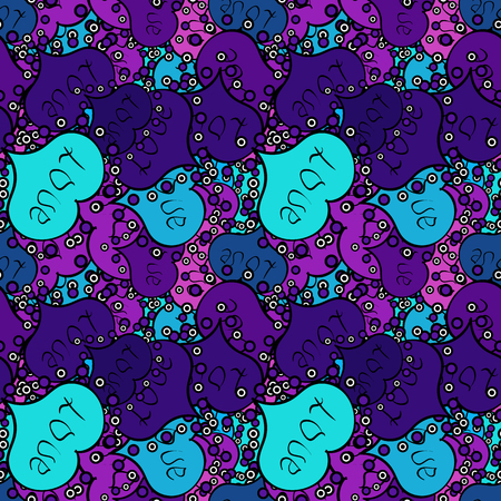 Valentines Day design. Elements on violet, blue and black colors. Seamless Love pattern with hand drawn doodle hearts. Illustration