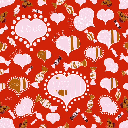 Love card. Vector illustration. Cartoon hearts love on red, neutral and white colors on cute background. Seamless pattern with hearts. Our love is magic.
