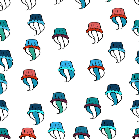 Cupcake pattern on white, blue and black vector illustration seamless of hand drawn vintage cute cupcakes and muffins. Illustration