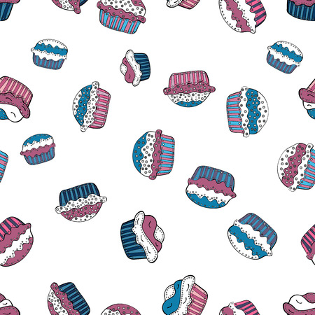 Muffin sweet texture background. Vector. Texture for prints, decorations, fabric. Colorful cream dessert backdrop on white, pink and blue. Cupcake seamless pattern.