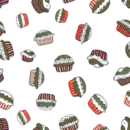 A Vector art. Seamless pattern with sweets  ice cream, cupcakes isolated on cute white, brown and black background.