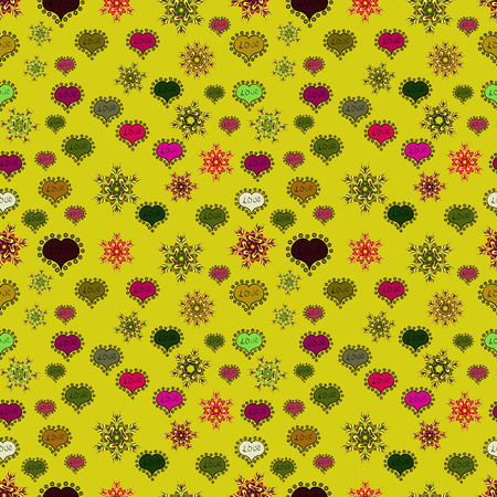 Typography lettering poster. Vector illustration. Seamless Hearts pattern. Elements on yellow, green and black colors. Valentines Day. Pattern for wrapping, cover.