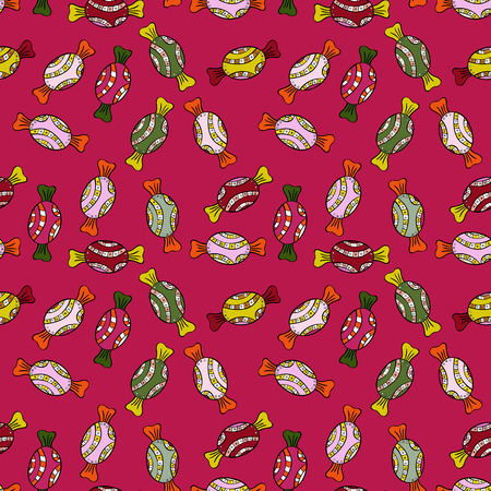 Seamless pattern with watercolor sweets candies. On red, black and neutral colors. Candy vector doodle. Vettoriali