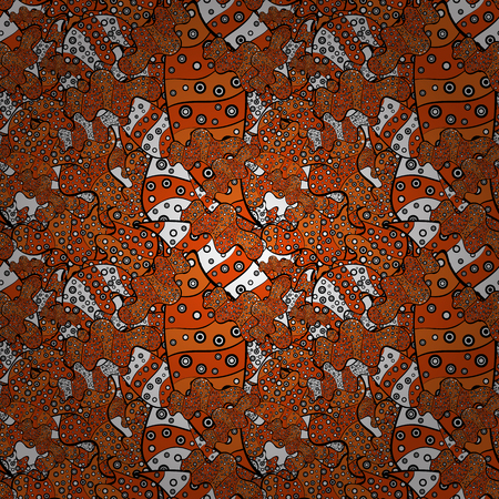 Print of Doodles orange, black and white on colors.