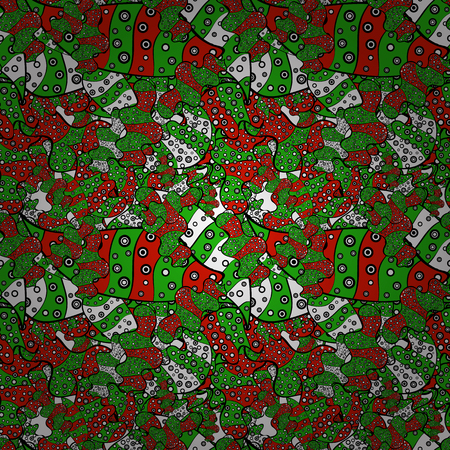 Doodles on green, black and red colors Seamless background pattern.