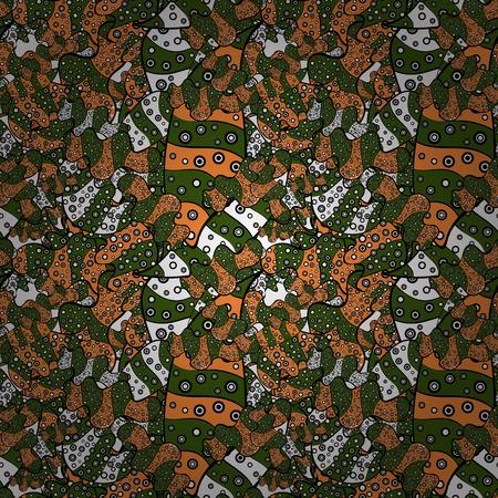 ベクターの図。緑、黒、オレンジ色。抽象的な落書きパターン。素敵な背景。シームレスなかわいい生地パターン。