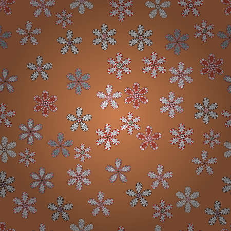 Abstract ethnic vector seamless pattern. Flowers of the valley on orange, white and gray colors.
