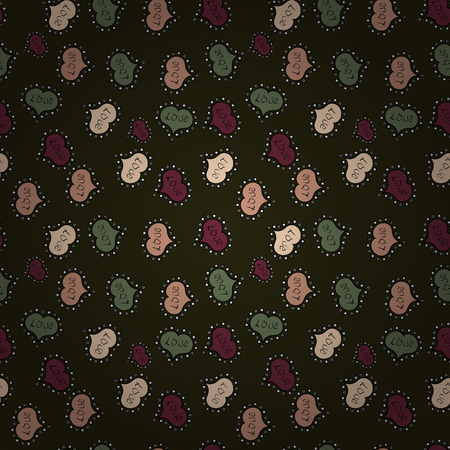 Love background. Vector illustration. Background of big and small hearts with swirls in gray, black and green colors. Seamless Love pattern.
