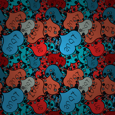 Vector illustration. Seamless background of big and small hearts with swirls in blue, black and orange colors.
