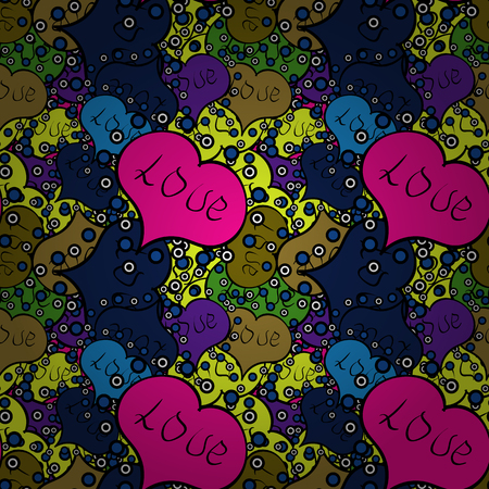 Black, blue and magenta seamless heart pattern. Vector illustration. Valentines Day. Repeating texture. Typography lettering poster. Pattern for wrapping. Illustration