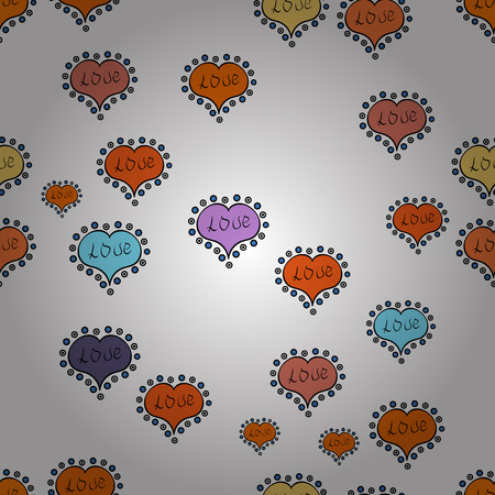 Vector illustration Seamless   hearts. Textile graphic t-shirt print on white, orange and black colors Design.