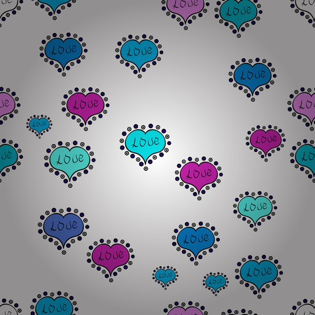 Valentines Day. White, blue and black. Vector fancy love shape seamless pattern background. Ilustrace