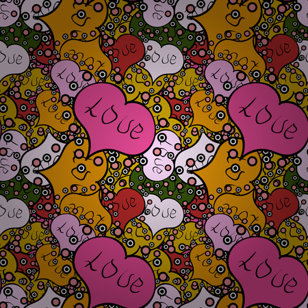Seamless love pattern with cute lettering calligraphy text and hearts, envelopes, doodles. Hand drawn illustration in cartoon style on black, yellow and pink colors. Art for background texture.Vector.