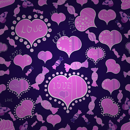 Love wedding background design. Seamless Valentine heart love seamless pattern with heart. Vector illustration. Nice blue, pink and white colors elements.