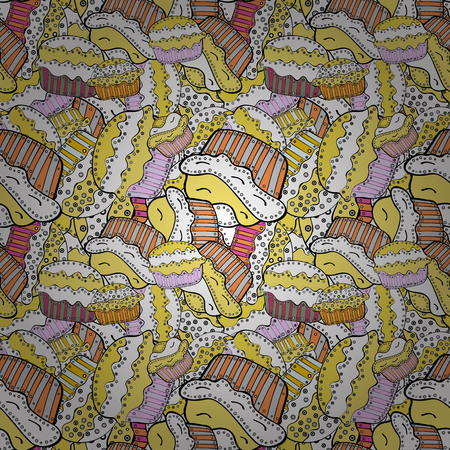 Vector illustration. Cake, cap, cone Seamless bright birthday pattern on white, yellow and black. Wrapping paper.