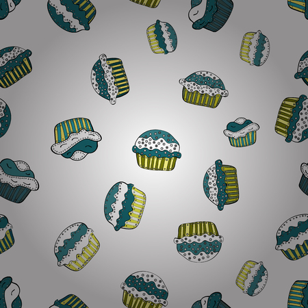 Vector Seamless pattern with sweets - ice cream, cupcakes isolated on cute white, blue and black background. Can use for birthday card, the children menu, packaging, textiles, fabrics, wallpaper. Illustration