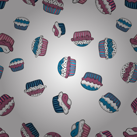 Seamless pattern. Cupcake, macaron, shortbread. Watercolor illustration. Seamless background cakes. Vector illustration. Cute birthday background on white, pink and blue.