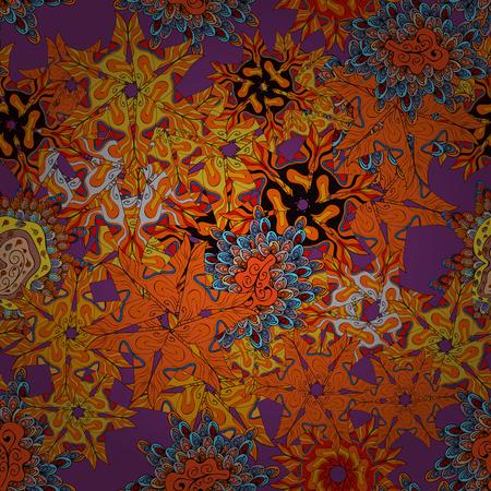 Orange, purple and black on colors. Tender fabric pattern vector seamless abstract retro background design. Ilustração