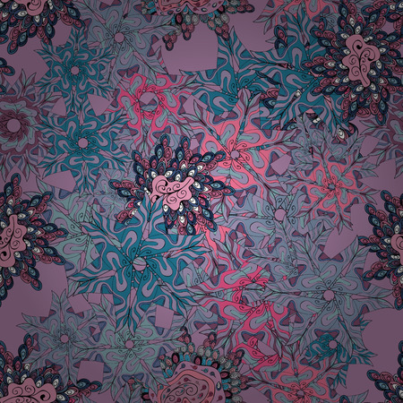 Beautiful fabric vector seamless pattern. Doodles neutral, blue and pink on colors. Illustration
