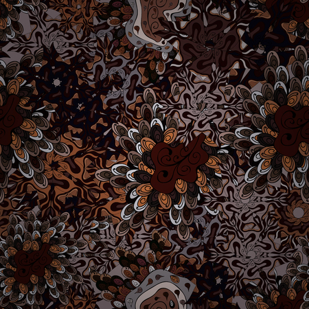 Black, brown and gray on colors. Doodles pattern seamless abstract interesting background. Tender fabric pattern vector.