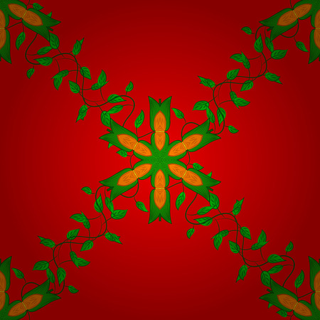 Handmade seamless watercolor floral Indian pattern tile on red, green and orange colors.