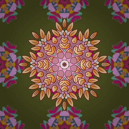 Colorful colored tile mandala on a green, pink and beige colors on green grayish background.