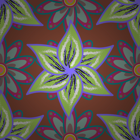 Cute fabric pattern in Flat Flower Elements Design.