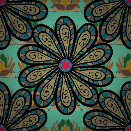 Seamless pattern of ethnic flowers in yellow, green and blue colors on green floral background.
