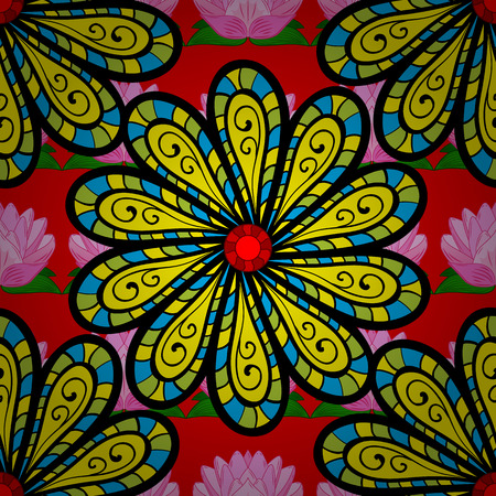 Seamless pattern of yellow, red and black colored flowers on red floral background.