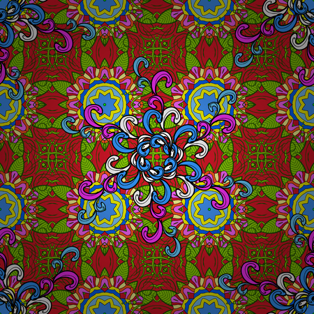 Hand-drawn vector mandala with colored abstract pattern on a green, red and blue colors.