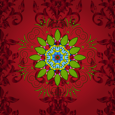 Vector hand-drawn mandala, colored abstract pattern on a red, green and blue colors.