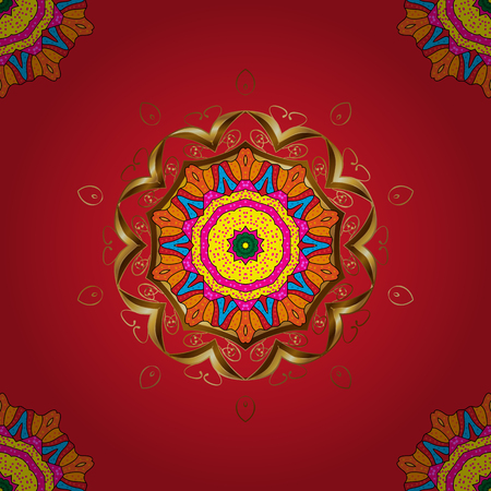 Seamless pattern with abstract ornament hand drawn flower in red, yellow and orange colors.