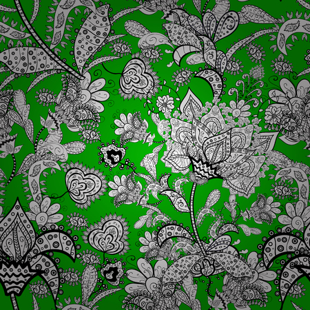 For print on fabric, textiles, wallpaper. Vector illustration. Cute floral pattern with buds flowers. Vintage retro style. Seamless background.