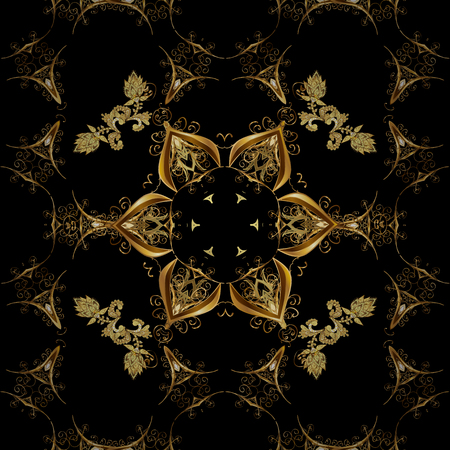 Vector seamless pattern with floral ornament. Traditional arabic decor on black colors. Ornamental lace tracery. Golden ornate illustration for wallpaper. Vintage design element in Eastern style. Stock fotó - 98582190
