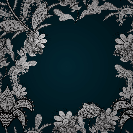 Floral seamless pattern background. Flowers on blue, white and black colors. Flower painting vector for t shirt printing. Illustration