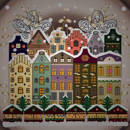 Winter village landscape vector illustration. Illustration