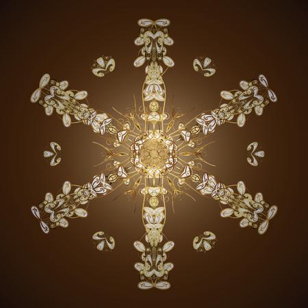 Ilustración de vector. Fondo de copos de nieve de vector. Diseño plano con copos de nieve abstractos aislados sobre fondo de colores. Patrón de colores de copo de nieve.