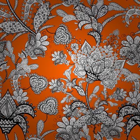Pretty vintage feed sack pattern in small white, orange and black, flowers. Floral sweet seamless background for textile, fabric, covers, wallpapers, print, wrap, quilting, decoupage.