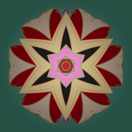 Motivo floreale vettoriale su colori verdi, neutri e rossi. Archivio Fotografico - 98585795