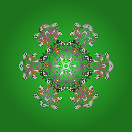 Flat lay. Winter pattern made of snowflake on green, gray and white colors. Winter concept. Illustration