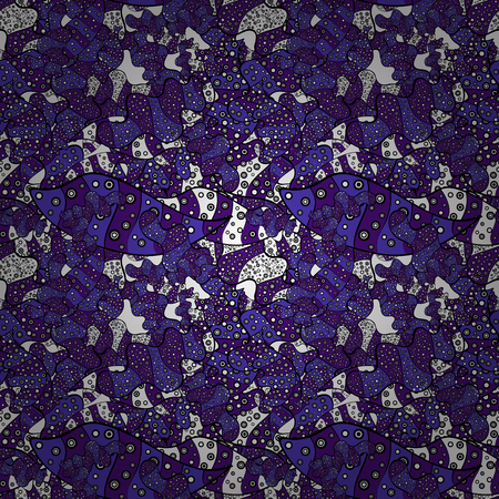 Seamless Abstract Retro Background Design. Vector. Tender fabric pattern. Pattern. White, violet and black on colors. Illustration
