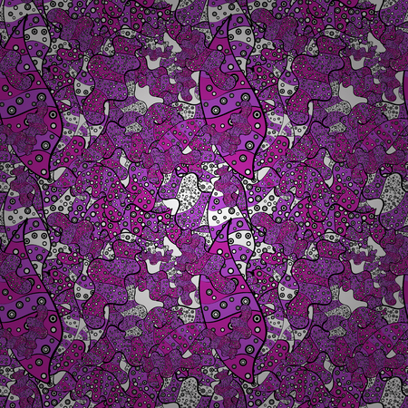Doodles on a magenta, violet and black colors. Beautiful fabric background. Illustration. Vector texture. Çizim