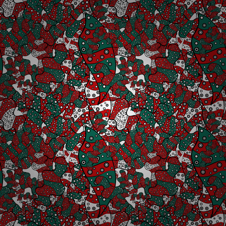 Doodles pattern. Tender fabric pattern. Red, green and black on colors. Seamless Abstract interesting background. Foto de archivo - 98700920